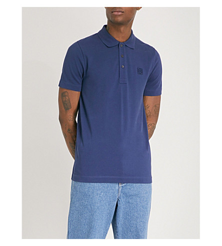 LOEWE Anagram cotton-piqué polo shirt (Navy+blue