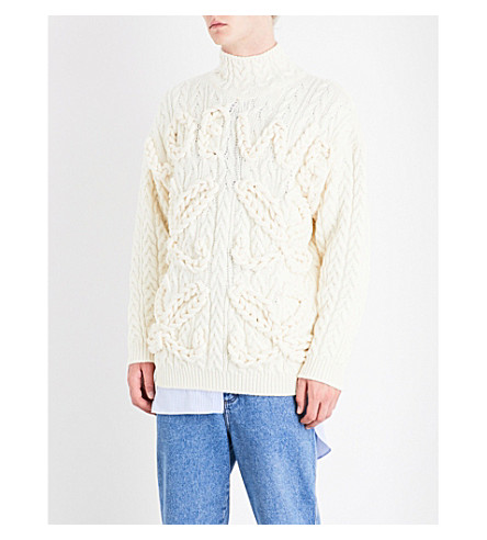 LOEWE Cable-knit wool jumper (Off+white