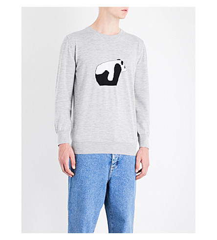 LOEWE Panda knitted wool jumper (Grey