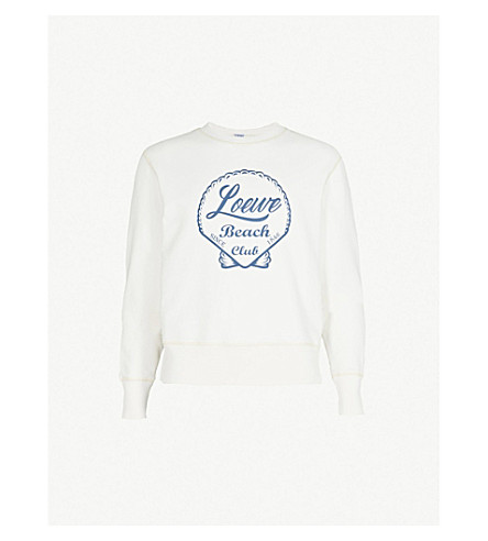 LOEWE Beach club cotton-jersey sweatshirt (White+blue