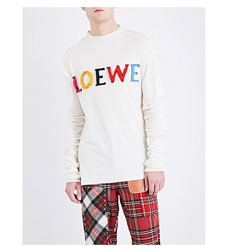 LOEWE Logo-appliquéd cotton and silk-blend top (Calico