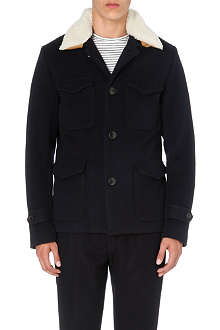 TOMORROWLAND Shearling-collar wool-blend jacket