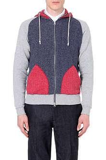 BEAMS PLUS Colour-block cotton hoody
