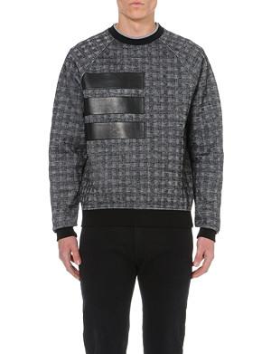 VERSACE Herringbone leather-panel knitted jumper