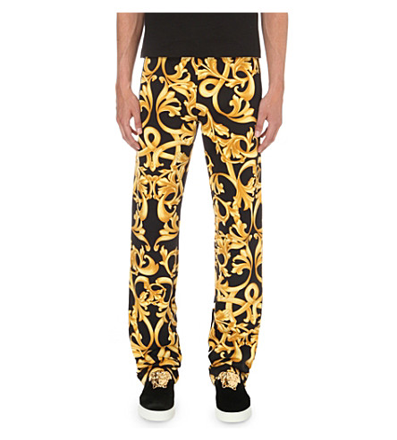 VERSACE Baroque-print jogging bottoms (Black+/+gold