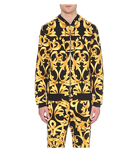 VERSACE Baroque zip-through hoody (Black+/+gold