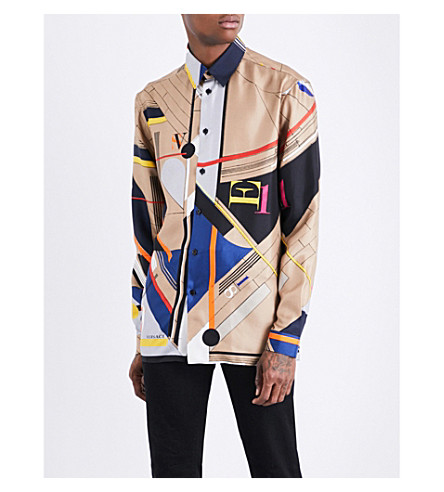 VERSACE Lazlo-print silk-twill shirt (Camel
