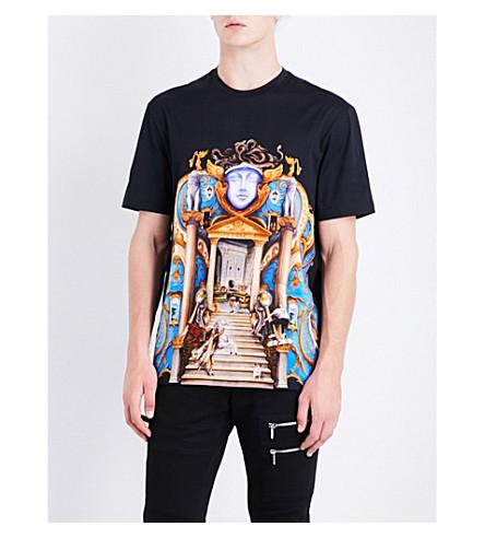 VERSACE Palace-print cotton-jersey T-shirt (Nero
