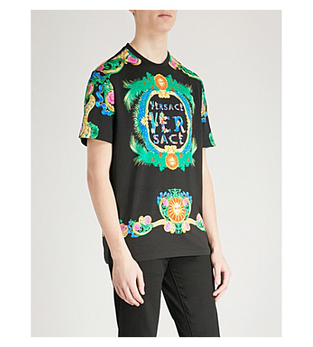 VERSACE Beverly Palm printed cotton-jersey T-shirt (Black