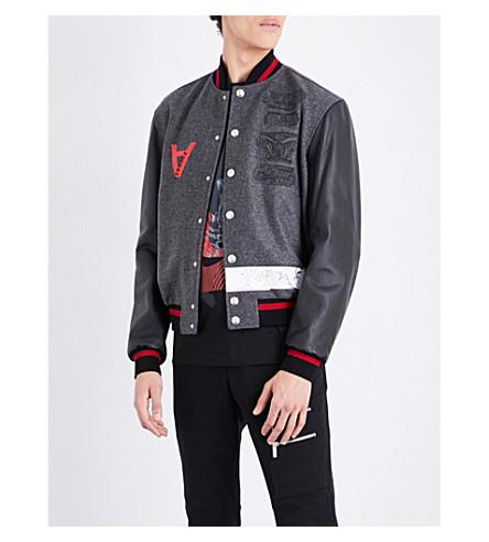 VERSACE Bowling-print wool-blend varsity jacket (Grey