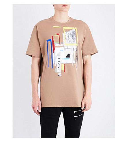 VERSACE 3D cotton-jersey T-shirt (Camel
