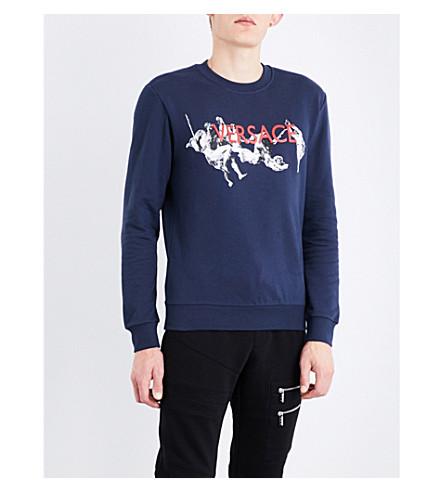 VERSACE Statue cotton-jersey sweatshirt (Navy