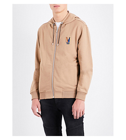 VERSACE Logo-print cotton-jersey hoody (Camel