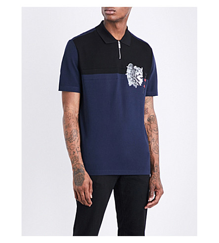 VERSACE Medusa-print cotton-piqué polo shirt (Navy