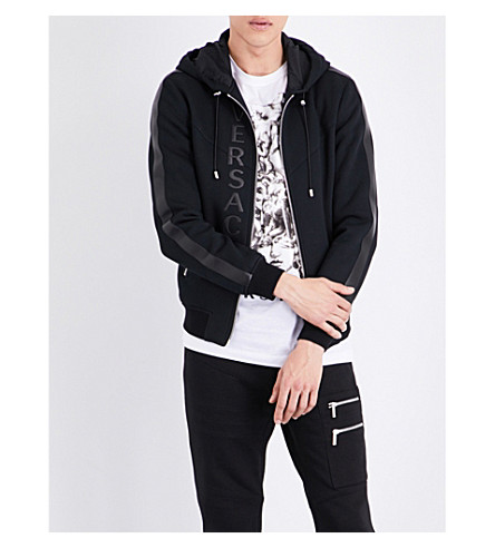 VERSACE Leather-trimmed cotton jacket (Black