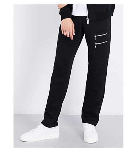 VERSACE Zipper-detail relaxed-fit tapered cotton-jersey track pants (Black