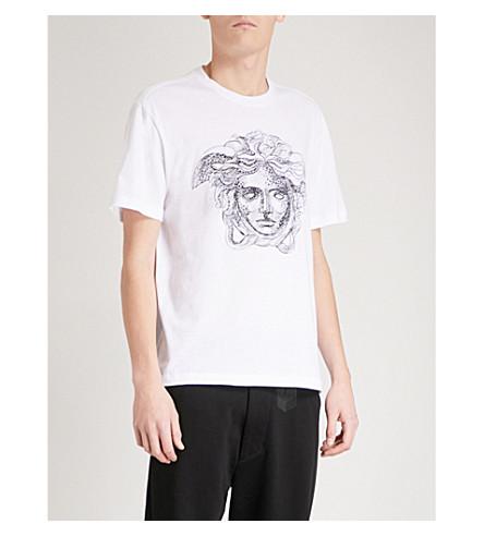 VERSACE Crystal-embellished Medusa-print cotton-jersey T-shirt (White