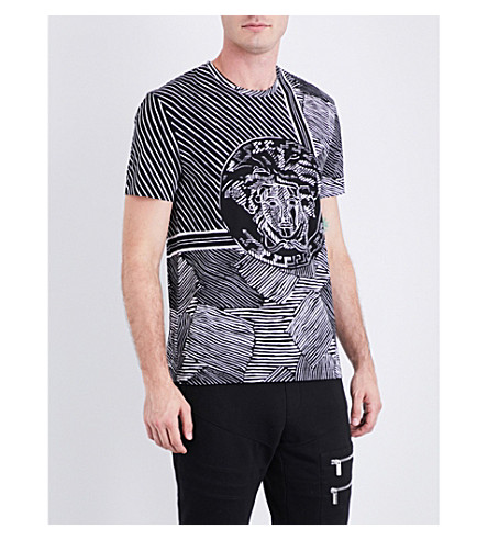 VERSACE Medusa-print striped cotton-jersey T-shirt (Nerobianco