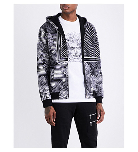 VERSACE Diagonal-stripes cotton-jersey hoody (Nerobianco