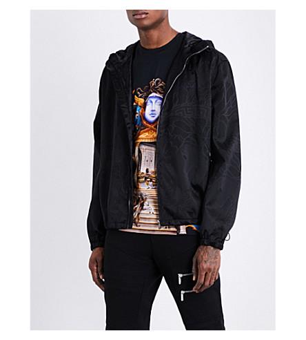 VERSACE Brand-print shell jacket (Nero