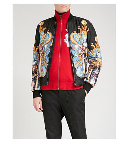 VERSACE Palace-print satin bomber jacket (Nero