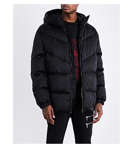 VERSACE Brand-print shell-down jacket (Nero