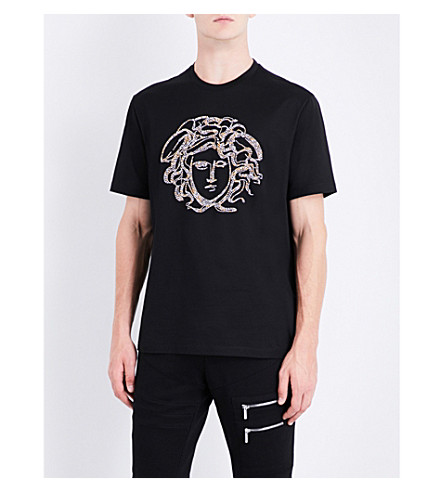 VERSACE Medusa-embellished cotton-jersey T-shirt (Nero