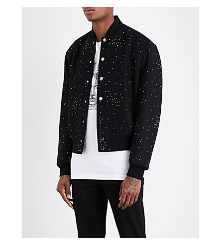 VERSACE Crystal-embellished wool-blend bomber jacket (Nero