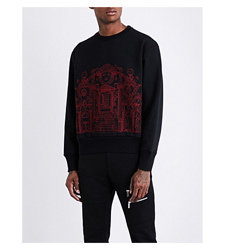 VERSACE Palace-embroidered cotton-jersey sweatshirt (Nero