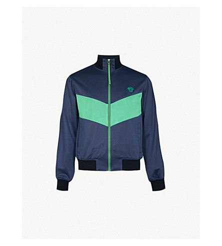 VERSACE Logo embroidered jersey track jacket (Green