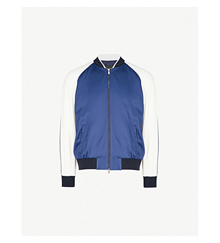 VERSACE Embroidered satin bomber jacket (Blue