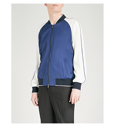 VERSACE Embroidered satin bomber jacket (Blue