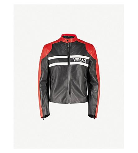 VERSACE Contrast panels leather jacket (Black