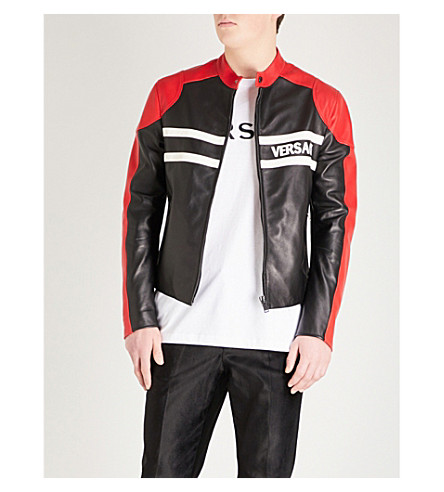 VERSACE Contrast panels leather jacket (Black