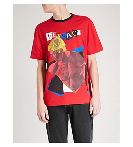 VERSACE Statue-print cotton-jersey T-shirt (Red