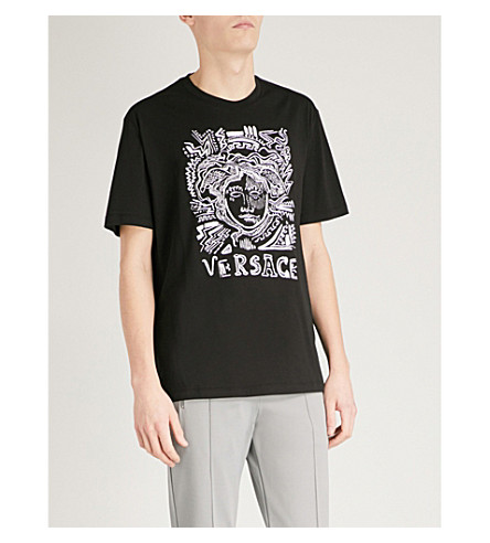 VERSACE Medusa-embroidered cotton-jersey T-shirt (Black