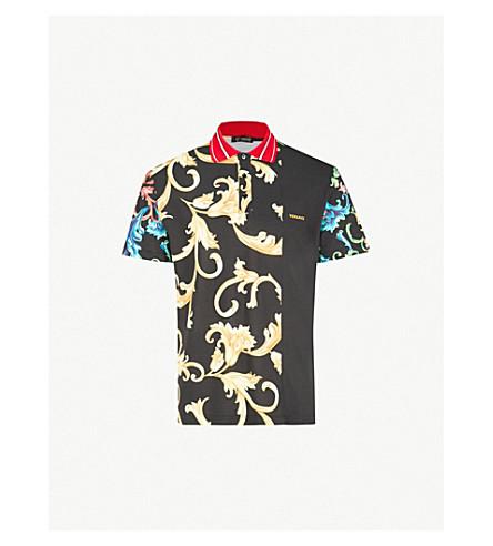 VERSACE Baroque-print cotton-piqué polo shirt (Multi
