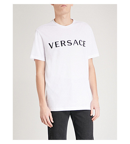 VERSACE Logo-embroidered cotton-jersey T-shirt (White