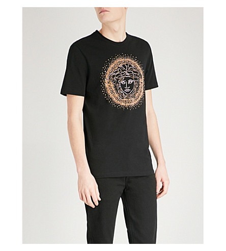 VERSACE Medusa embellished cotton-jersey T-shirt (Blk