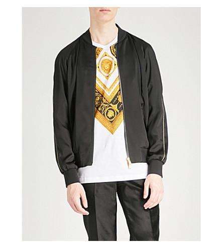 VERSACE Medusa-embellished satin bomber jacket (Black