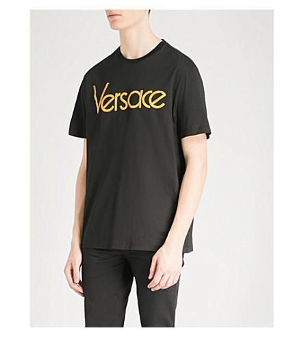 VERSACE Logo-print cotton-jersey T-shirt (Blk+gold