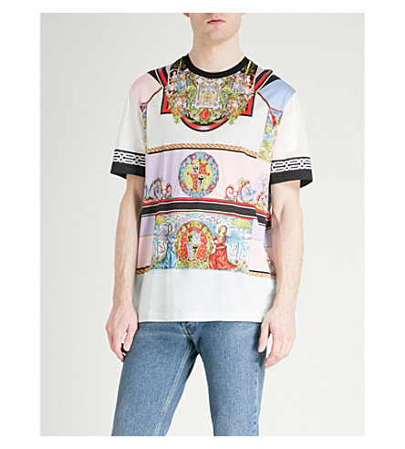 VERSACE Printed cotton-jersey T-shirt (Multi