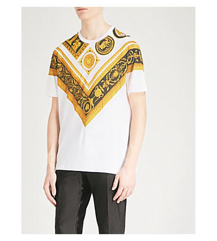 VERSACE Baroque-print cotton-jersey T-shirt (White