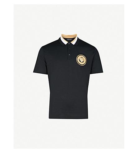 VERSACE Medusa-head cotton-piqué polo shirt (Black