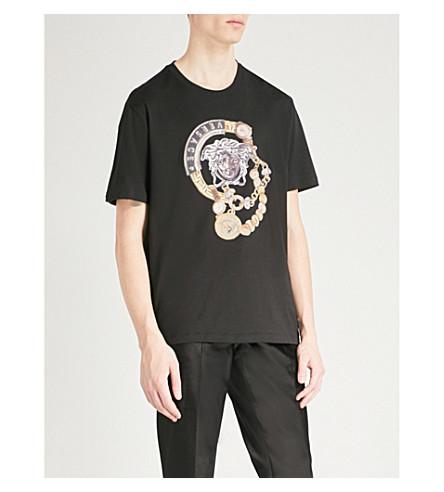 VERSACE Medusa-print cotton-jersey T-shirt (Black