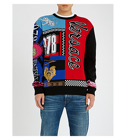 VERSACE Patchwork intarsia-knit wool sweater