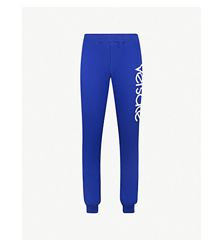 VERSACE Logo-embroidered cotton-jersey jogging bottoms (Blue+white