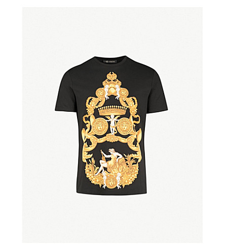 VERSACE Baroque-print cotton-jersey T-shirt (Black+print