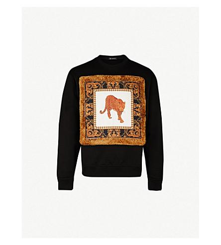 VERSACE Leopard-print cotton-jersey sweatshirt (Black