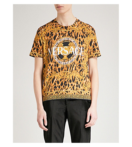 VERSACE Lamyland cotton-jersey T-shirt (Black+gold